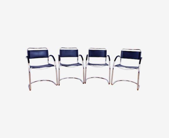 Set Cuir Design De Chaises 70 Bauhaus Années 4 Noir Italie OkNwX8n0P