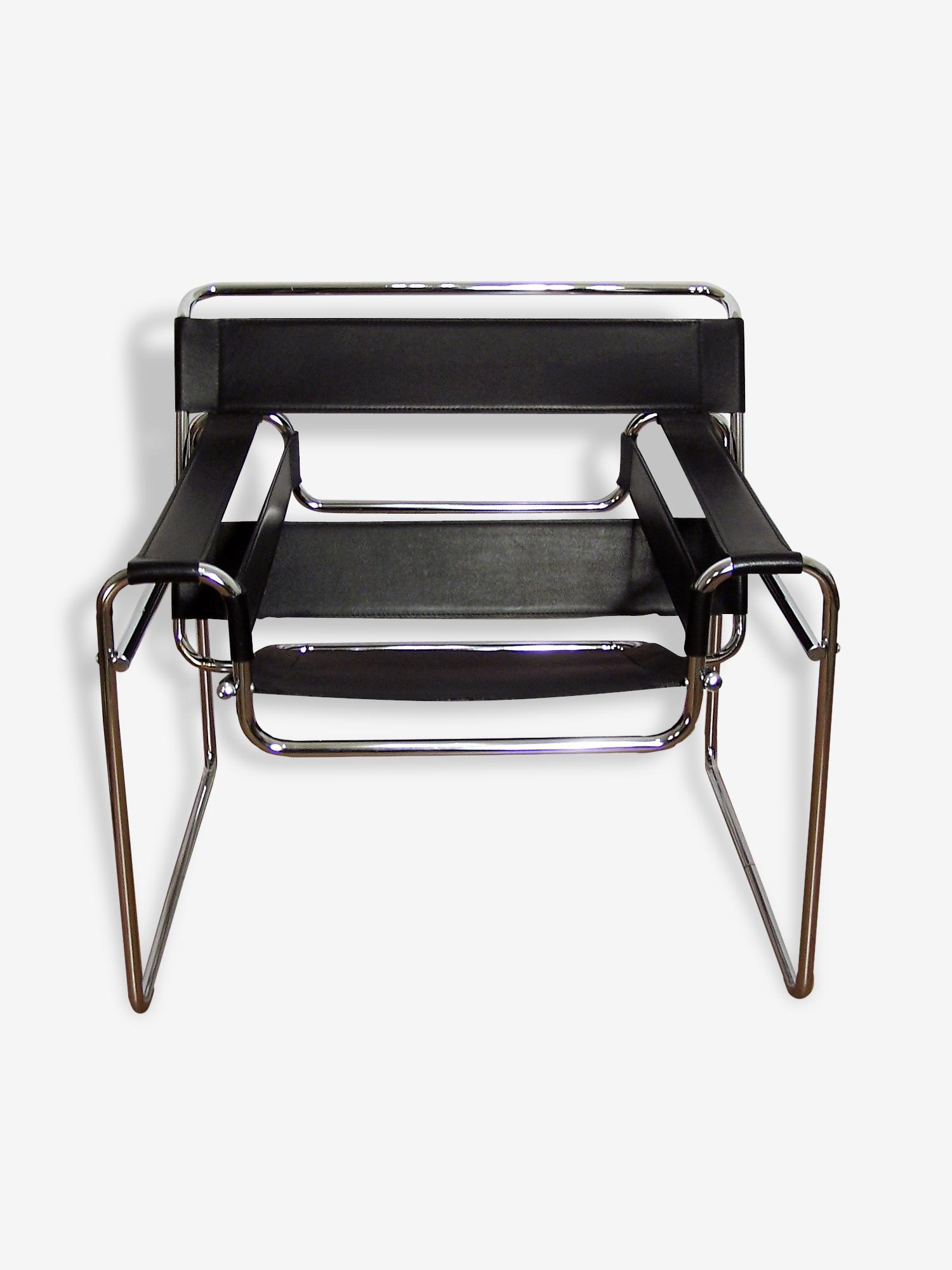 Fauteuil Wassily B3 design Marcel Breuer cuir noir cuir noir