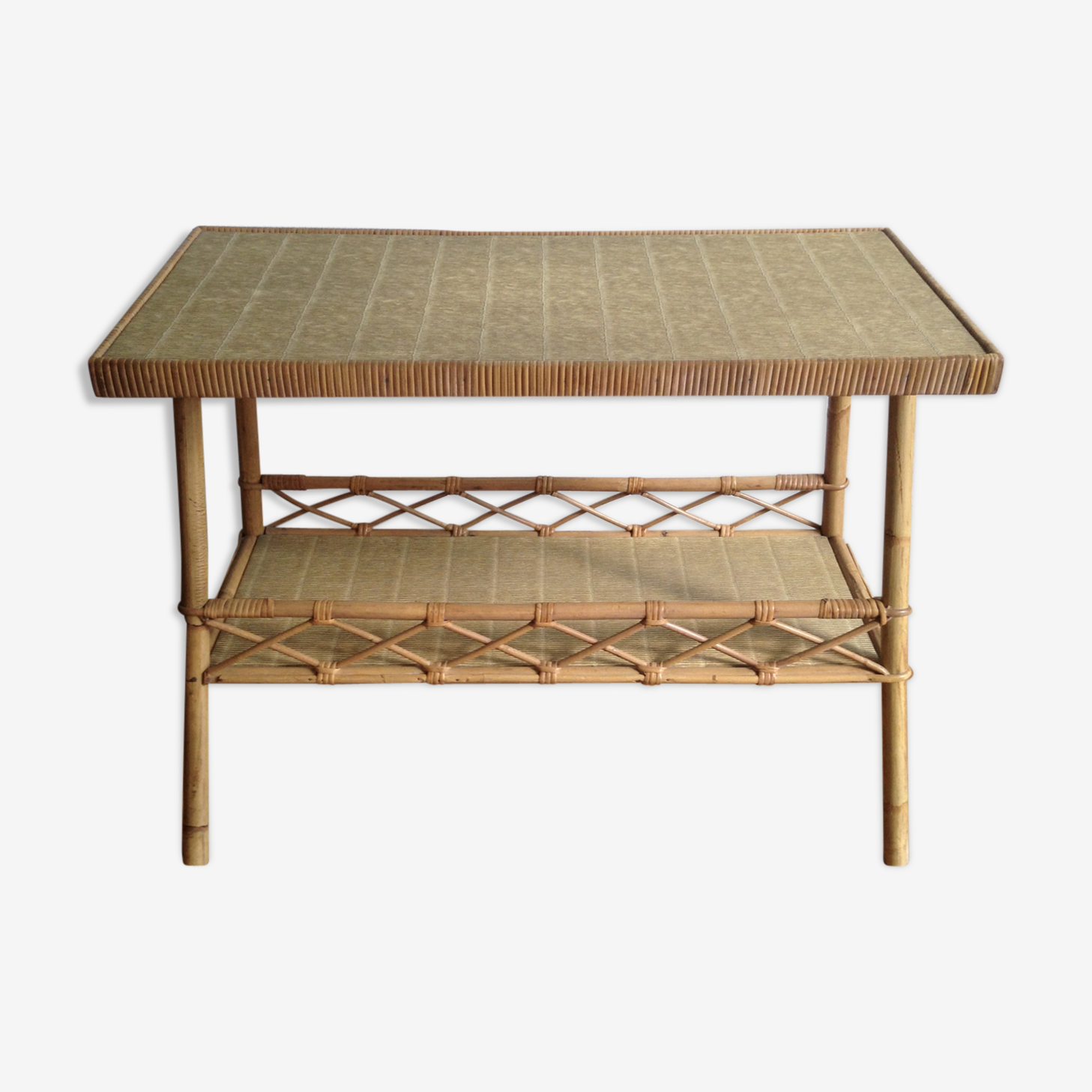 Trapezoidal rattan side table