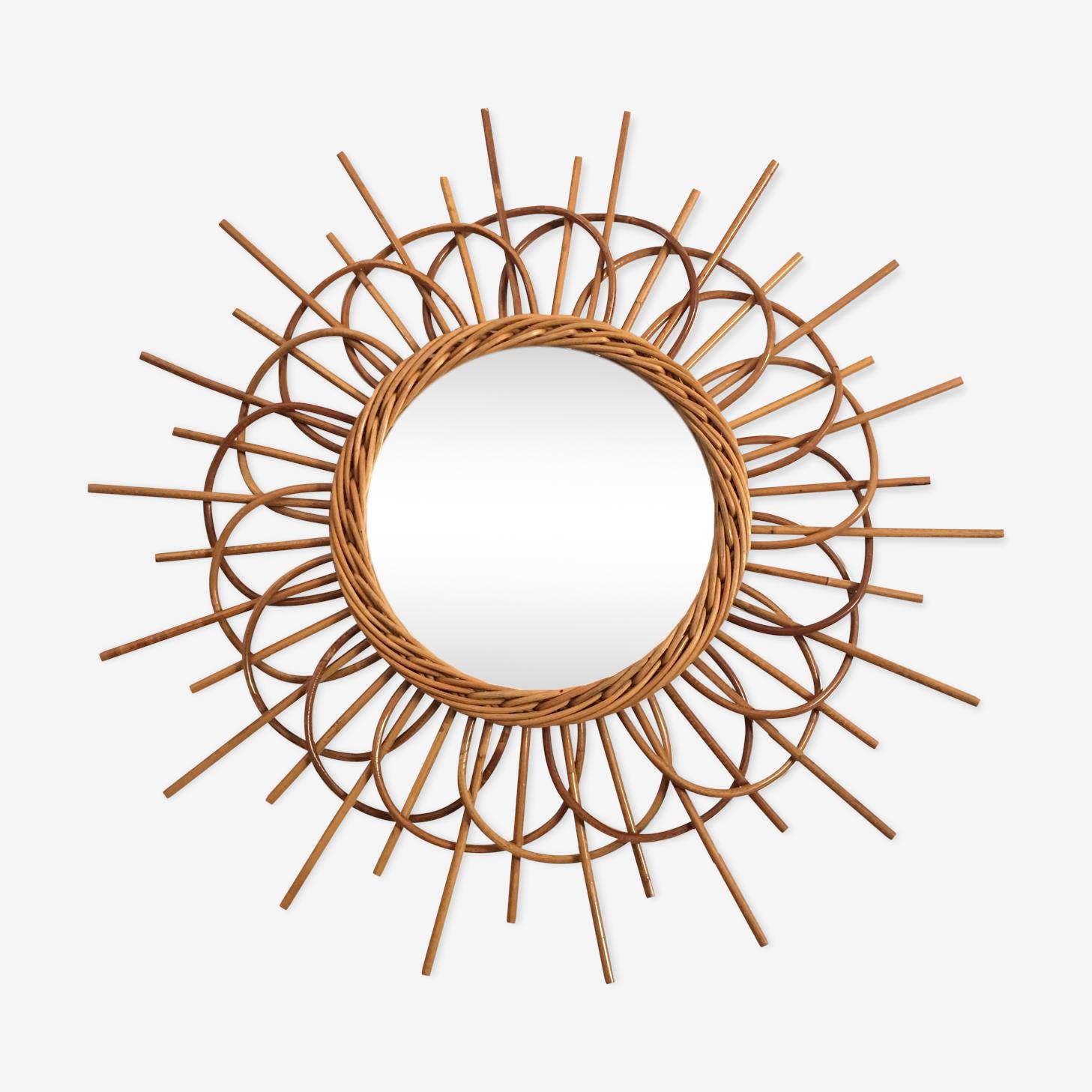 Miroir rotin forme soleil 56x21cm