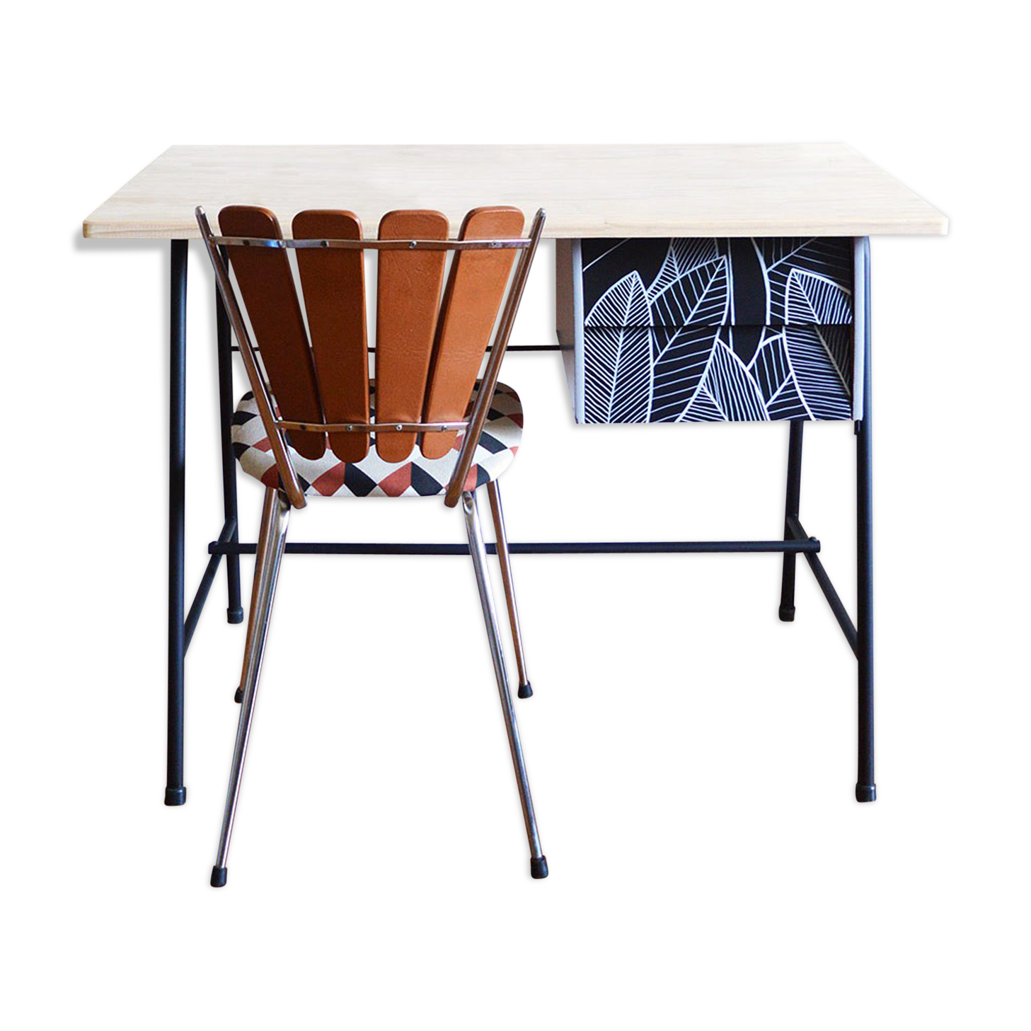 Bureau bois et métal année métal noir vintage ruryt z
