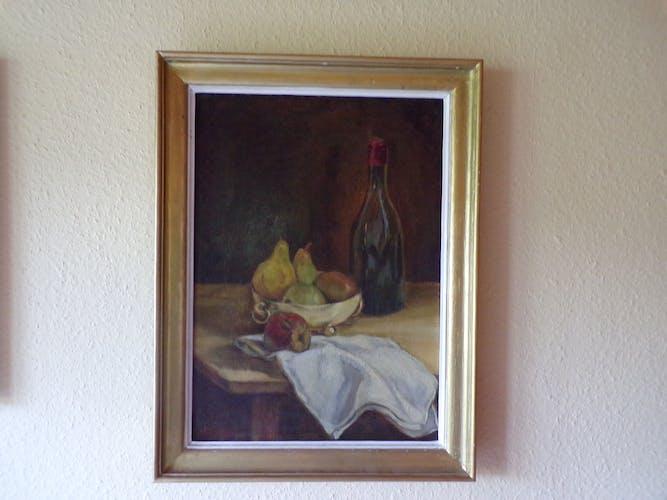 Tableau nature morte huile sur panneau avec son cadre en bois