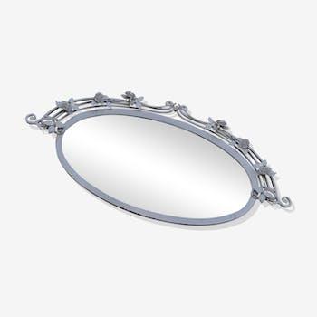 Miroir ovale verre biseauté art nouveau 120 x 57 cm