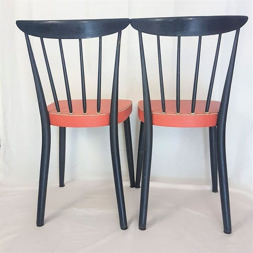 60s chairs - black wood and red skai