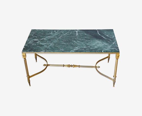 Table Basse En Marbre Vert Et Laiton Annees 60 Selency