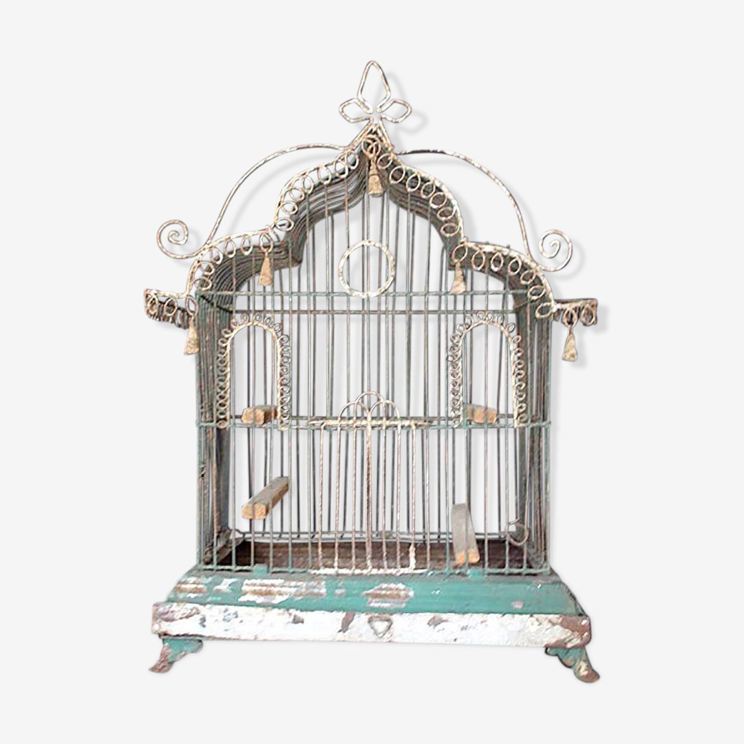Cage à oiseaux en treillis métallique du XIXe siècle