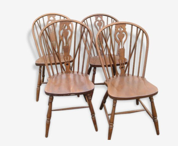 4 Anglais Salle A Manger Chaises En Chene Wood Brown Vintage