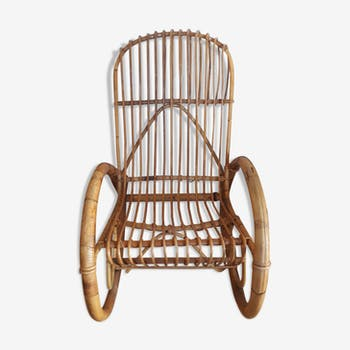 Rocking-chair adulte en rotin vintage