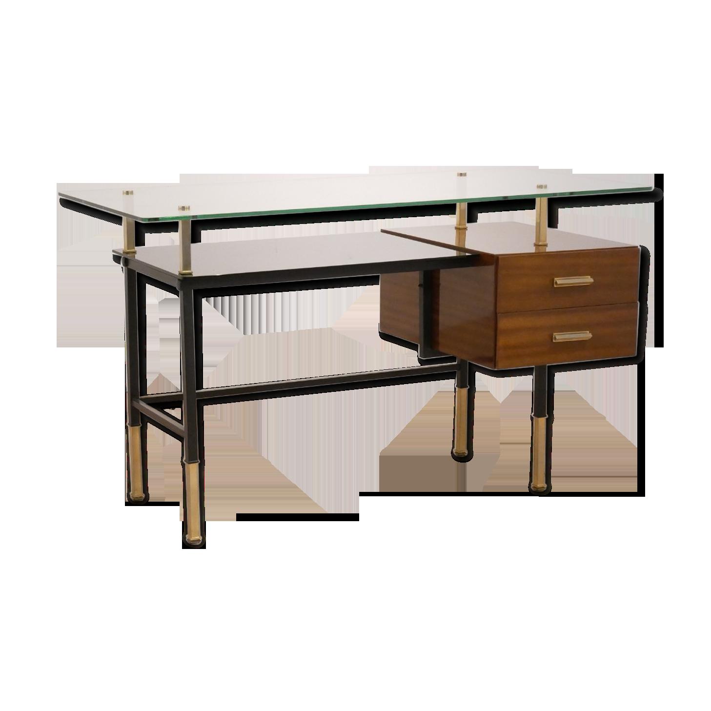 Bureau moderniste français en acajou laiton et verre wood