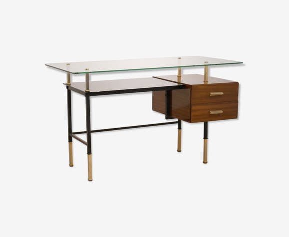 Bureau moderniste français en acajou laiton et verre wood wooden