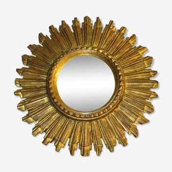 Mirror curved Sun of witch wooden Golden 20th 30.5 cm