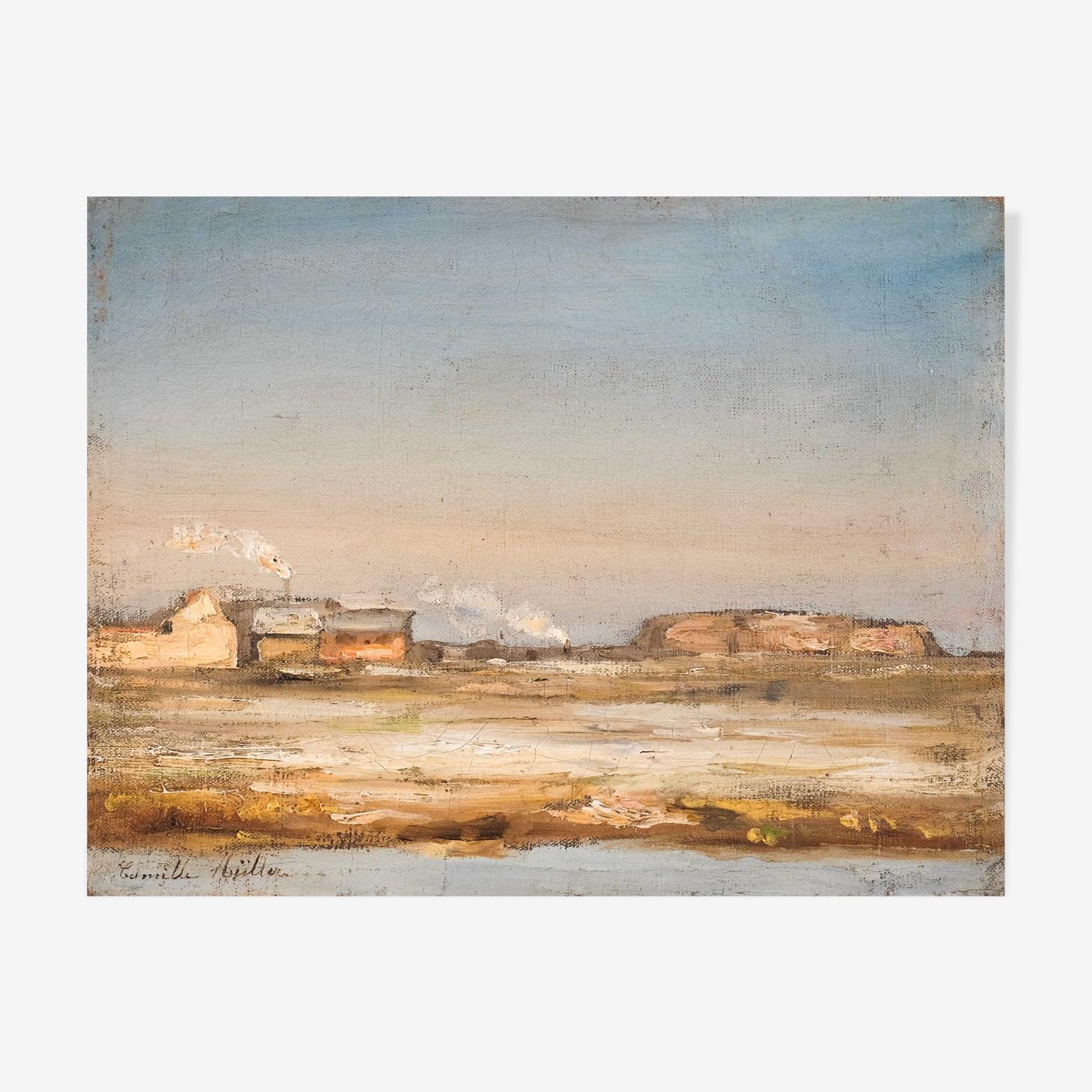 Peinture de Camille Muller XIX  Paysage d'hiver