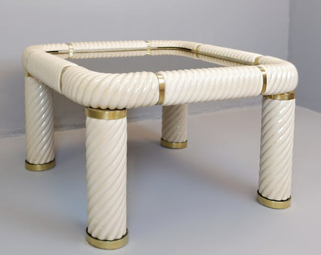 Table basse en céramique et laiton Tommaso Barbi - années 1970