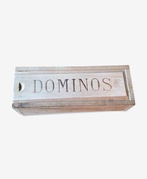 Boite de jeu de dominos en bois