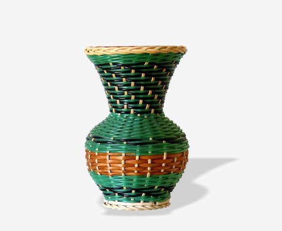 Vase Scoubidou & terre cuite vernissée 50's