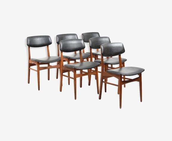 Lot de 6 chaises de salle à manger danois en teck des années 1960
