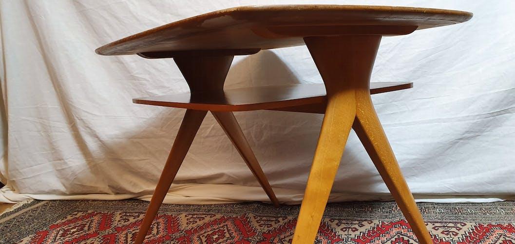 Scandinavian lounge table compass feet 1950