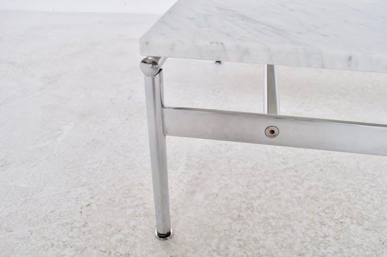 Table basse années 70' marbre et acier chromé
