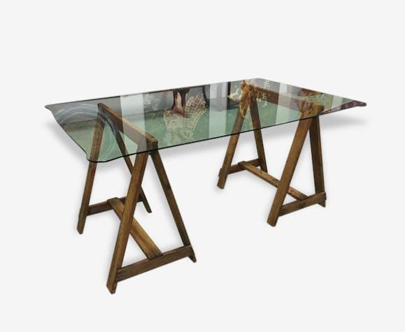 Table Treteaux Et Plateau En Verre Anciens Glass And