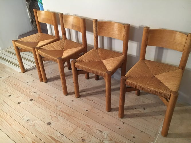 4 chairs by Charlotte Perriand model Meribel 1960