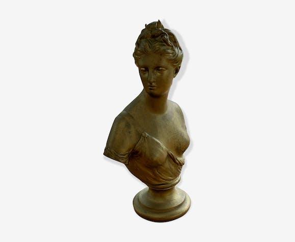 Buste de femme en régule patine dorée ancien et estampillée fabrication française paris