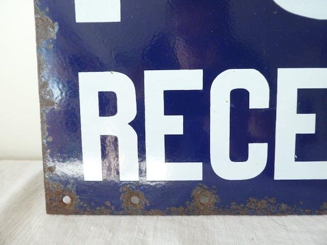 Plaque emaillée ancienne postes recette auxiliaire double face