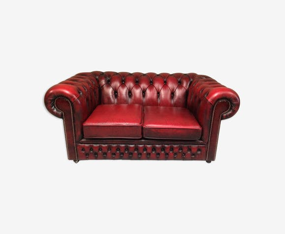 Canap chesterfield rouge cuir rouge vintage ymytbdu - Canape rouge bordeaux ...