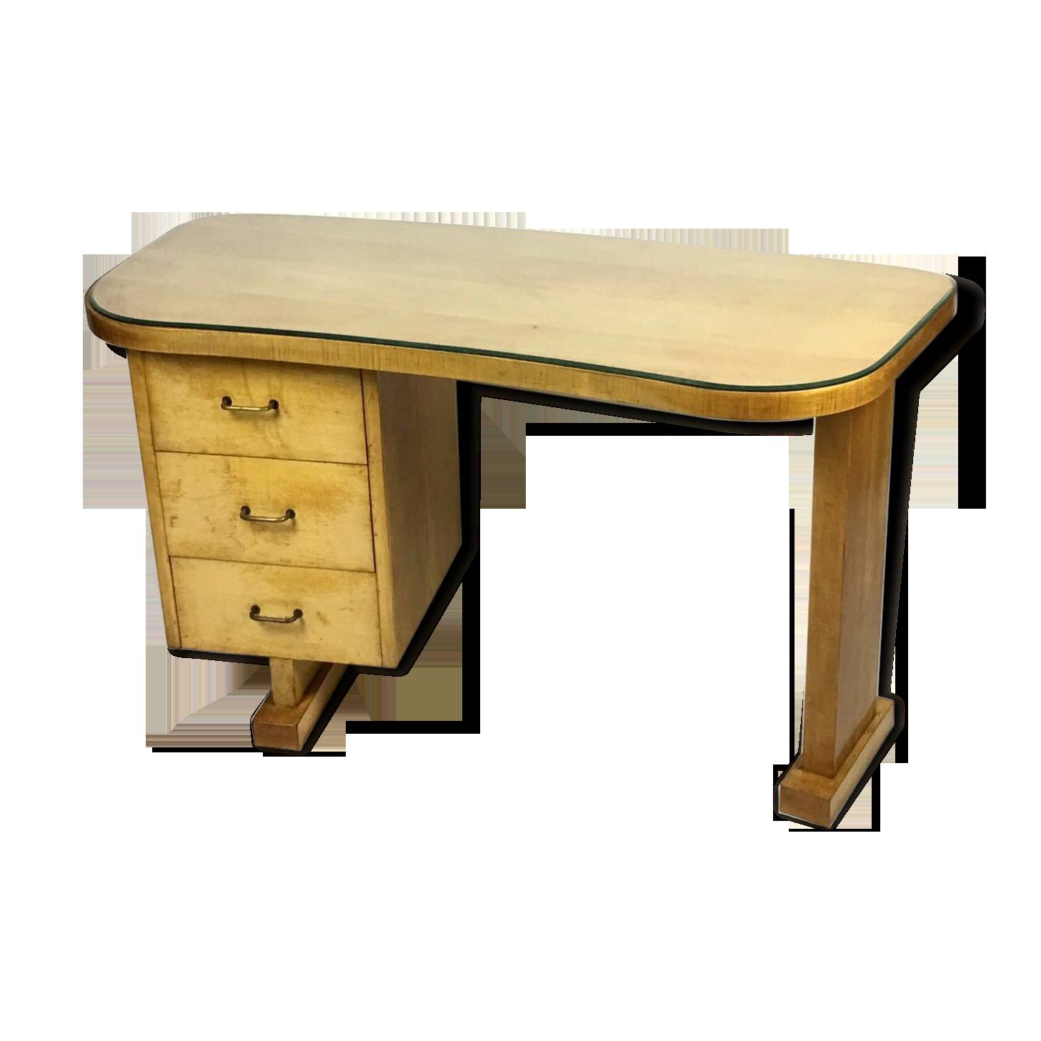 Bureau mouvementé à trois tiroirs années en bois et verre