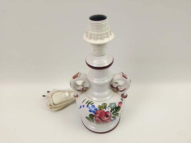 Pied de lampe en céramique déco florale