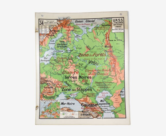 Carte de géographie Vidal Lablache - URSS et Finlande
