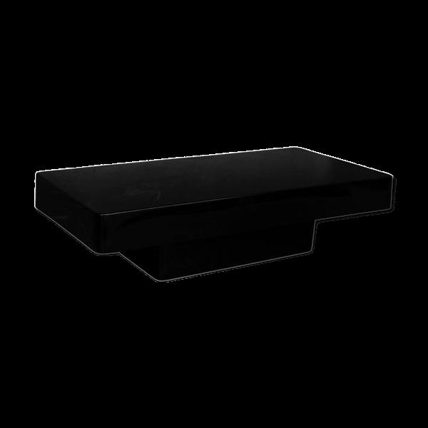Table basse laquée noire design 1970