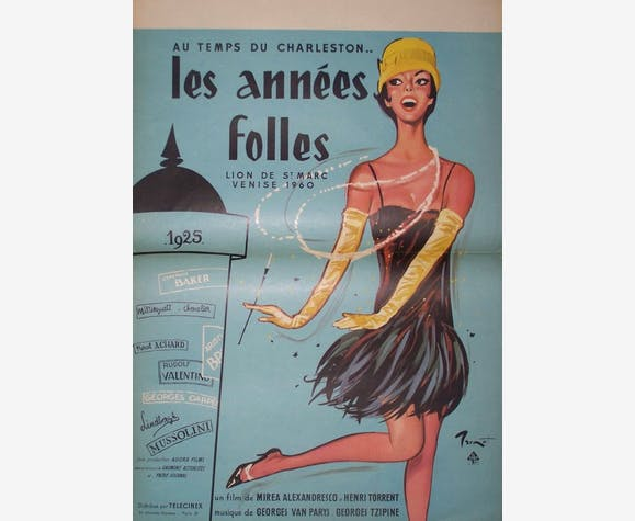 affiche cin ma ann es folles brenot papier vintage 7975. Black Bedroom Furniture Sets. Home Design Ideas