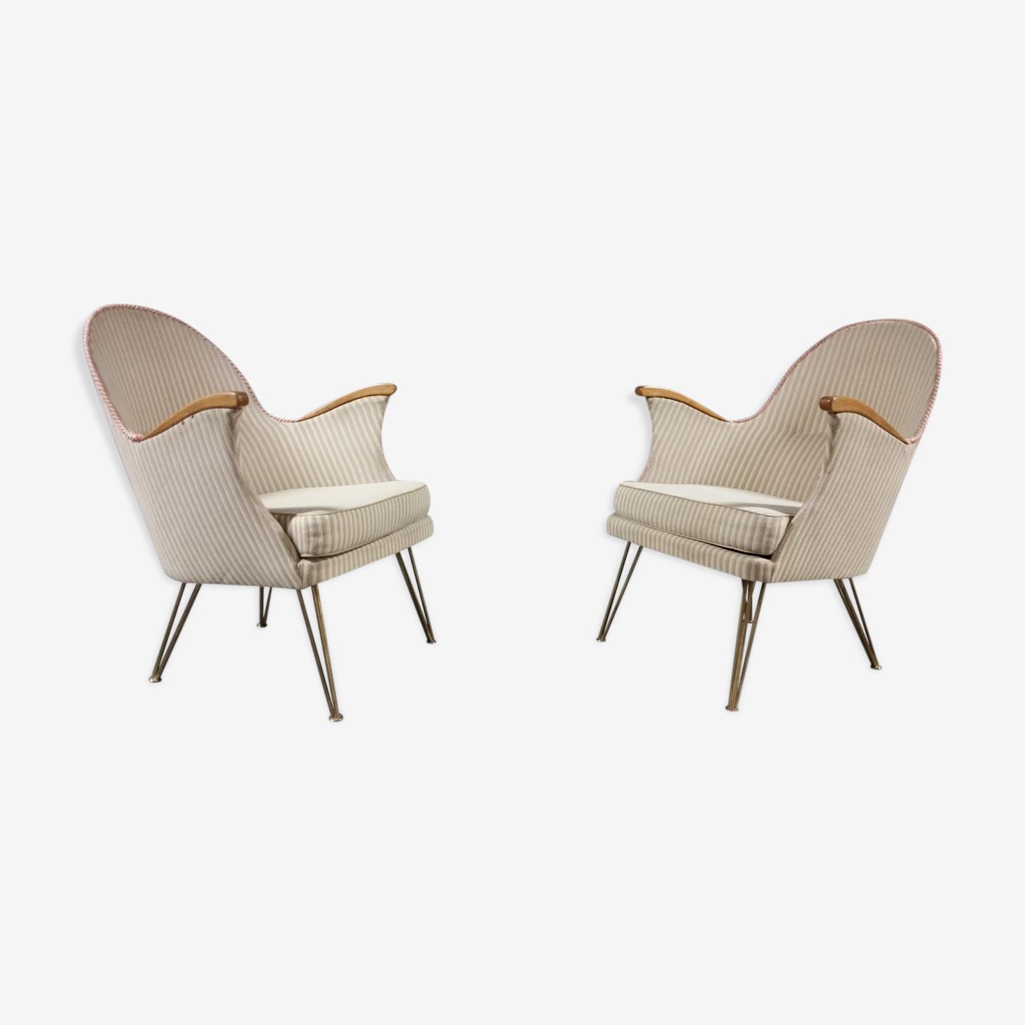 Paire de fauteuils années 50/60