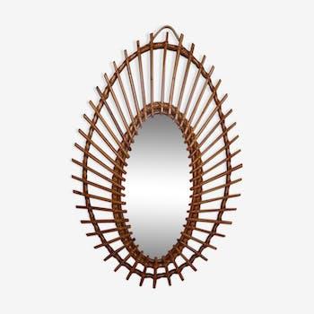 Oval rattan sun mirror 62 - 42 cm