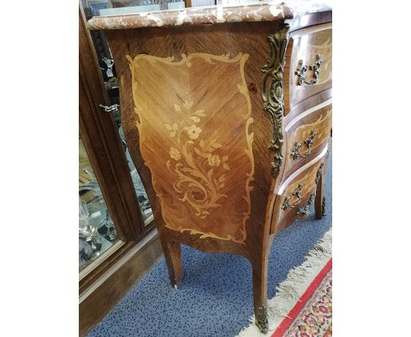 OLD small chest of drawers inlaid Louis XV style