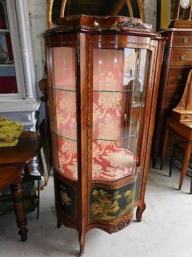 Vitrine marqueterie decor asiatique en bois de rose