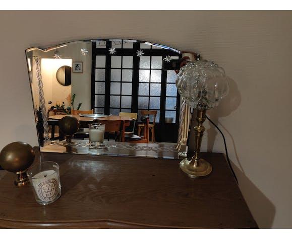 Miroir biseauté ancien art déco 55x59cm