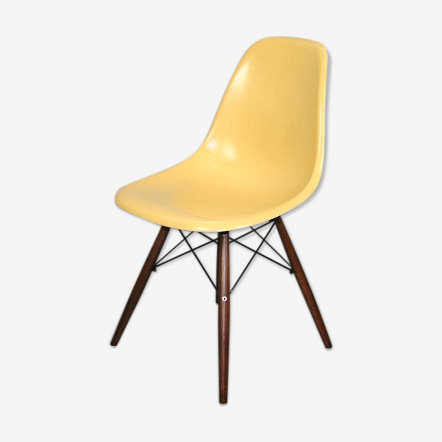 Chaise dsw ocre Eames Herman Miller vintage noyer