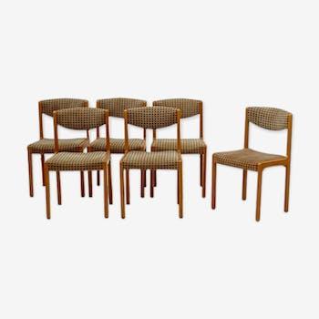 Lot of 6 vintage chairs Scandinavian beech 1960