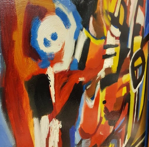 Large Dirk Jan Ribbeling Oil Painting on Canvas 1969 Amsterdam