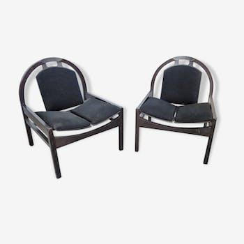 Pair of chairs BAUMANN - France - around 1980.