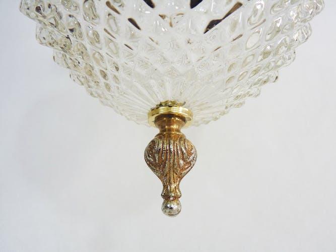 Lustre en laiton et globe en verre ciselé à pointe diamant