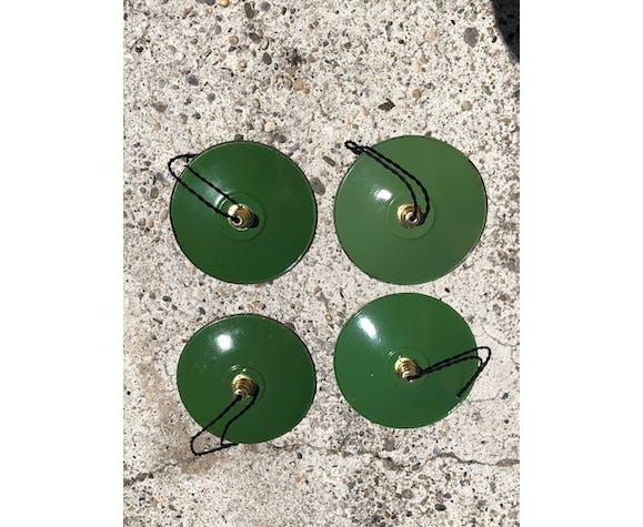Suspension industrielle tôle émaillée verte et blanche vintage douille et fils neufs