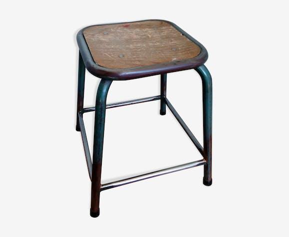 tabouret d 39 cole en m tal et bois style industriel m tal bleu industriel gb9lwvd. Black Bedroom Furniture Sets. Home Design Ideas