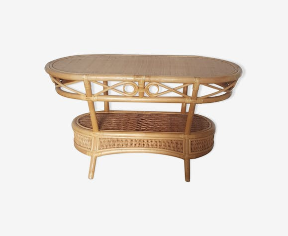 Table basse rotin et cannage