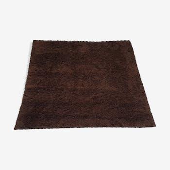 Tapis 100% laine poils longs marrons chocolat 1970 vintage 210 x 250cm