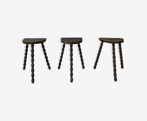 Trio vintage tripods farm stools