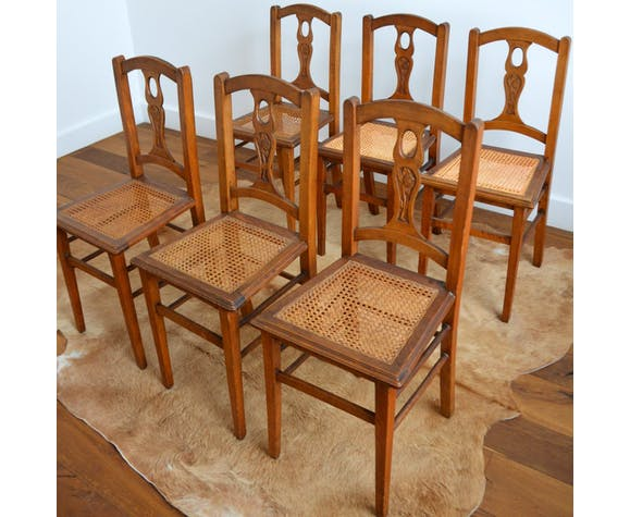 Suite de 6 chaises vintage 1930