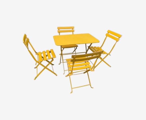 Salon de jardin metal et bois enfant jaune - métal - jaune ...