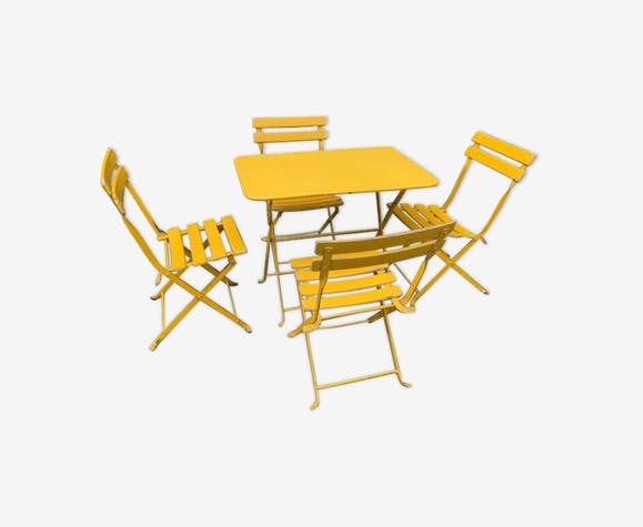salon de jardin metal et bois enfant jaune m tal jaune. Black Bedroom Furniture Sets. Home Design Ideas
